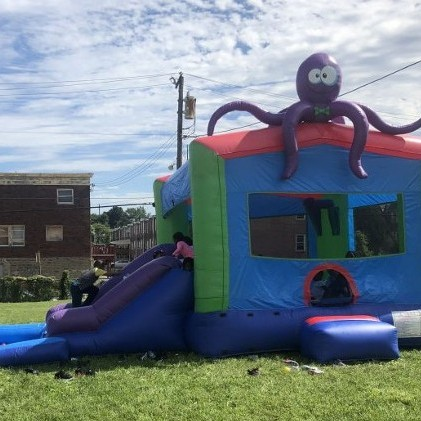 Octopus Wet N Dry Moon Bounce Slide